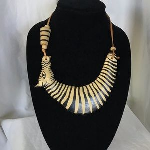 Ethnic African Zebra Carved Statement Necklace